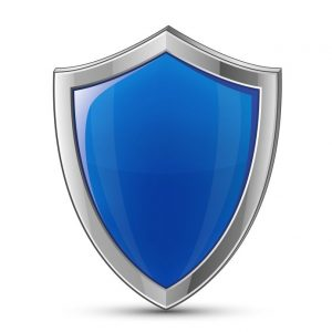 12055004 - protection concept. vector illustration of blue glossy shield